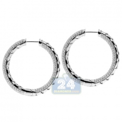 14K White Gold 4.21 ct Diamond Pave Round Hoop Earrings