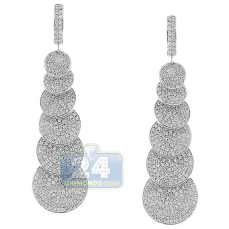 Womens Diamond Graduated Disc Dangle Earrings 14K White Gold