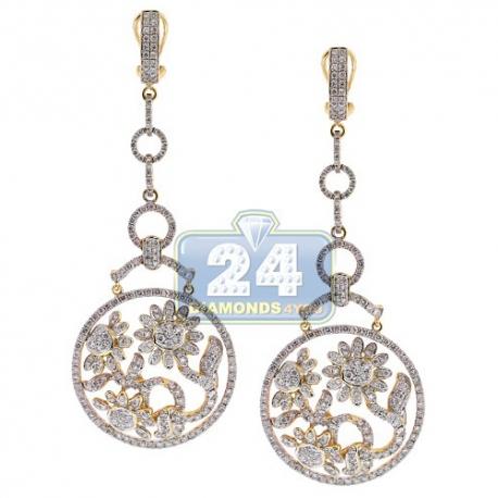 Womens Diamond Floral Drop Earrings 14K Yellow Gold 5.88 ct