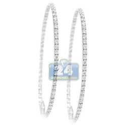 14K White Gold 4.88 ct Diamond Round Hoop Earrings 2 3/8 Inch