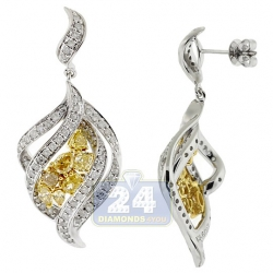 14K White Gold 2.50 ct Fancy Yellow Diamond Womens Leaf Earrings