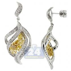 14K White Gold 2.50 ct Fancy Yellow Diamond Womens Leaf Earrings