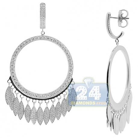 Womens Diamond Open Circle Drop Earrings 18K White Gold 4.28 ct