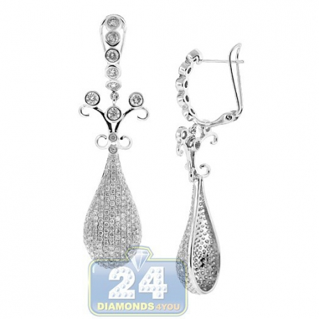 Womens Diamond Vintage Drop Earrings 14K White Gold 6.36 ct