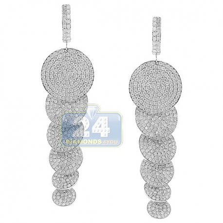 Womens Diamond Pave Graduated Disc Drop Earrings 14K White Gold
