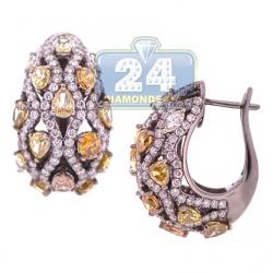 Black 14K Gold 7.13 ct Fancy Diamond Womens Huggie Earrings