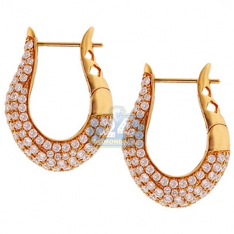 "Womens Diamond Oval Hoop Earrings 18K Yellow Gold 4.34 ct 1"""