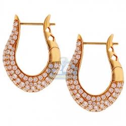 18K Yellow Gold 4.34 ct Diamond Womens Oval Hoop Earrings