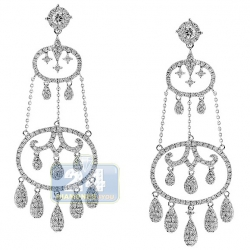 14K White Gold 4.21 ct Diamond Womens Chandelier Earrings