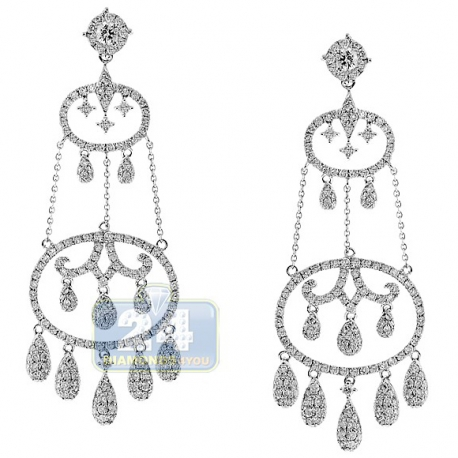 Womens Diamond Chandelier Drop Earrings 14K White Gold 4.21 ct