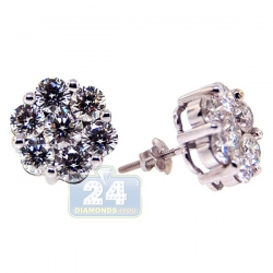 14K White Gold 4.40 ct Diamond Cluster Womens Stud Earrings