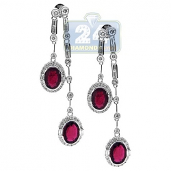 18K White Gold 3.77 ct Ruby Diamond Womens Drop Earrings