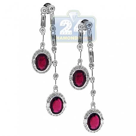 Womens Ruby Diamond Double Drop Earrings 18K White Gold 3.77 ct