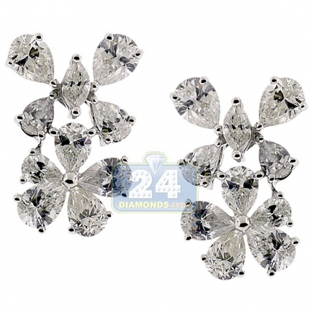 Womens Diamond Flower Stud Earrings 14K White Gold 4.49 Carat