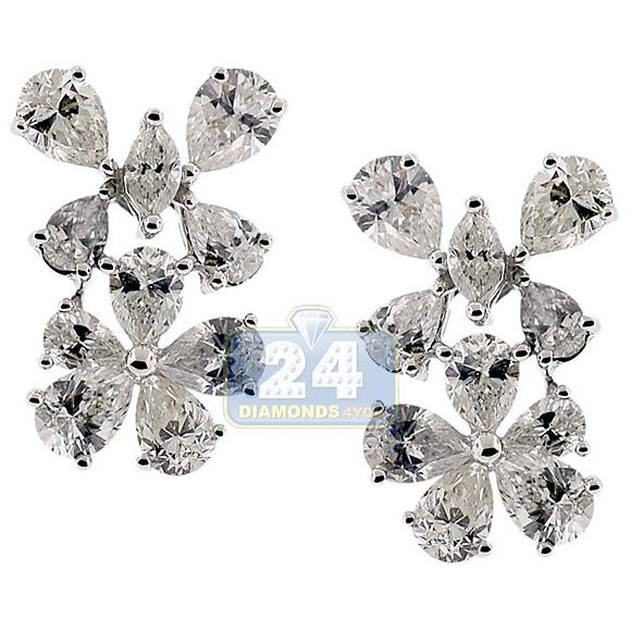 14k White Gold 4 49 Ct Diamond Flower Womens Stud Earrings