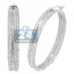 14K White Gold 3.64 ct Diamond Pave Round Hoop Earrings 2 Inch