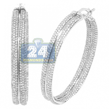 Womens Diamond Pave Round Hoop Earrings 14K White Gold 3.64 ct