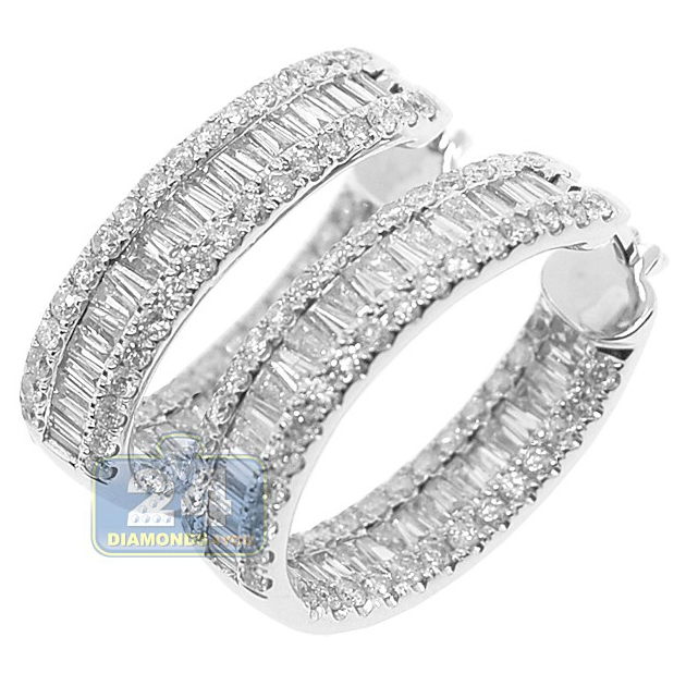 baguette diamonds earrings womens baguette hoop earrings 14k white gold 4 12 ct 1584
