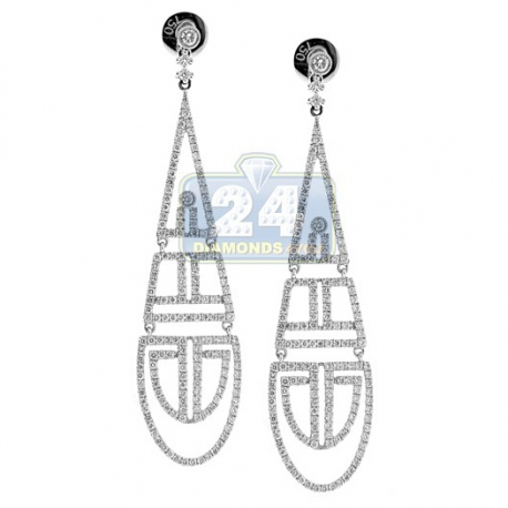 Womens Diamond Openwork Dangle Earrings 18K White Gold 1.80 ct