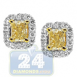 18K Gold 1.68 ct Fancy Yellow Diamond Womens Stud Earrings
