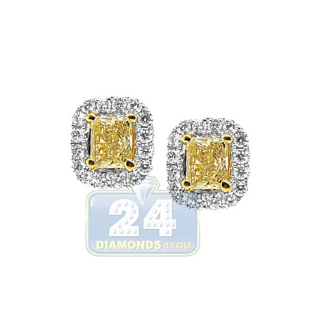 Womens Fancy Yellow Diamond Halo Stud Earrings 18K Gold 1.68 ct