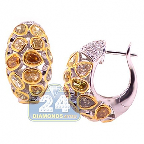 Womens Fancy Diamond Small Hoop Earrings 14K White Gold 7.37 ct