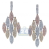 Womens Diamond Chandelier Earrings 14K Three Tone Gold 7.32 ct