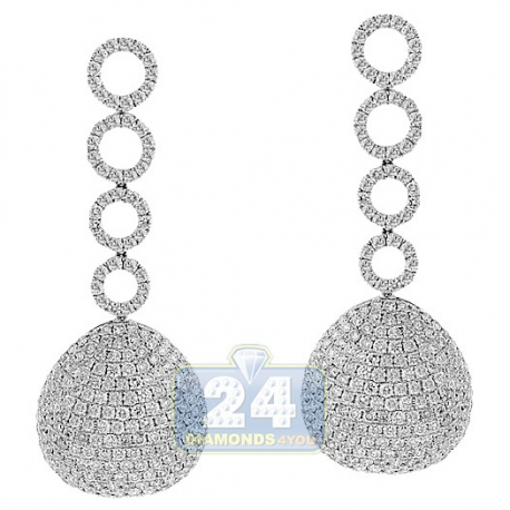 Womens Diamond Pave Dangle Earrings 14K White Gold 7.72 Carat