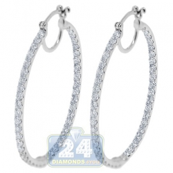 14K White Gold 3.02 ct Diamond Womens Oval Hoop Earrings