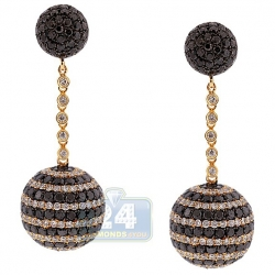 14K Yellow Gold 10.79 ct Black Diamond Ball Womens Earrings