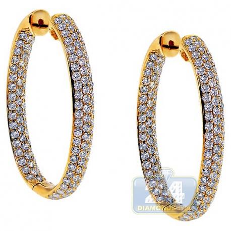 Womens Iced Diamond Oval Hoop Earrings 14K Yellow Gold 1.25 Inch