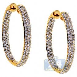 14K Yellow Gold 3.75 ct Diamond Womens Hoop Earrings 1 1/4 Inch