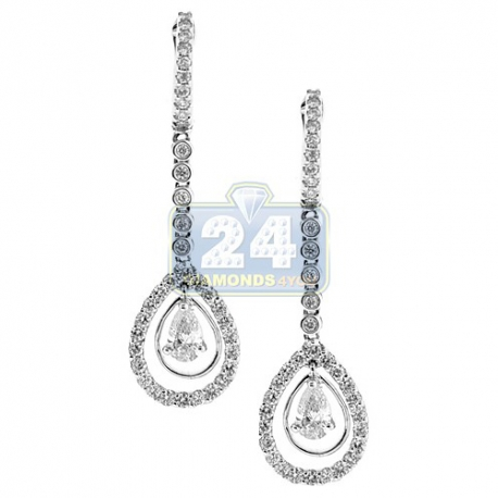 Womens Pear Cut Diamond Drop Earrings 18K White Gold 1.92 ct