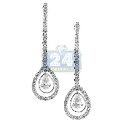 18K White Gold 1.92 ct Pear Diamond Womens Drop Earrings