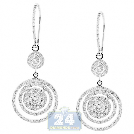 Womens Diamond Hook Round Drop Earrings 14K White Gold 2.35 ct