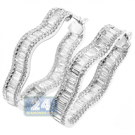 Womens Diamond Fancy Waved Hoop Earrings 14K White Gold 3.90 ct