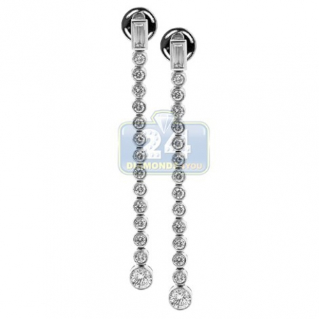 Womens Bezel Set Diamond Drop Earrings 18K White Gold 1.74 ct