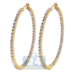 14K Yellow Gold 5.20 ct Inside Out Diamond Oval Hoop Earrings