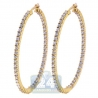 Womens Inside Out Diamond Oval Hoop Earrings 14K Yellow Gold