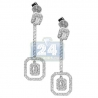 Womens Diamond Halo Drop Earrings 18K White Gold 2.00 Carat