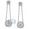 Womens Diamond Illusion Dangle Earrings 14K White Gold 2.48 ct