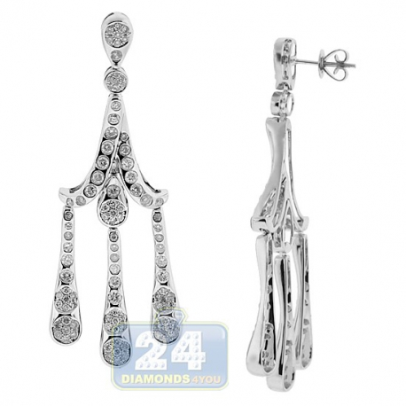 Womens Diamond Triple Chandelier Earrings 14K White Gold 2.88 ct