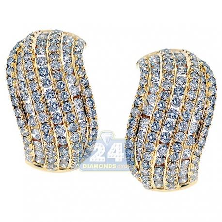 Womens Diamond Small Huggie Earrings 14K Yellow Gold 3.66 ct