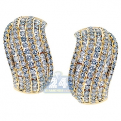 14K Yellow Gold 3.66 ct Diamond Womens Huggie Earrings