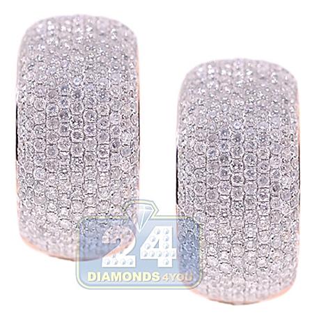 Womens Diamond Small Oval Hoop Earrings 14K Rose Gold 3.44 ct