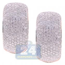 14K Rose Gold 3.44 ct Diamond Womens Oval Hoop Earrings