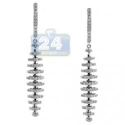 14K White Gold 2.99 ct Diamond Graduated Drop Earrings