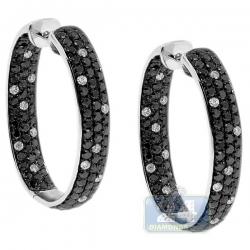 Womens Black Diamond Oval Hoop Earrings 14K White Gold 5.20 ct