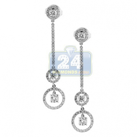 Womens VS1 F Diamond Drop Earrings 18K White Gold 1.20 Carat
