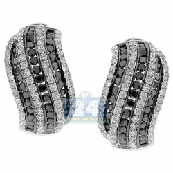 Womens Zebra Diamond Huggie Earrings 14K White Gold 3.87 Carat